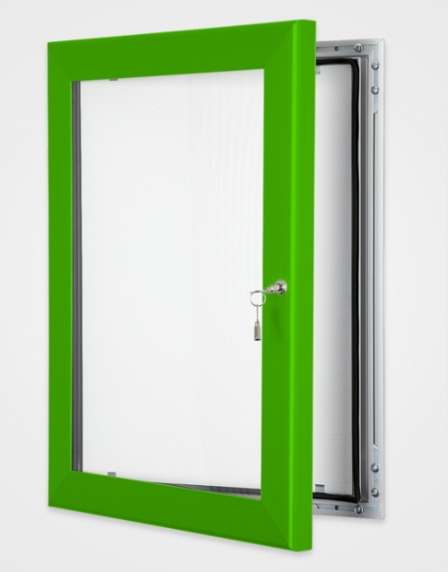 Lockable internal or external poster holder green