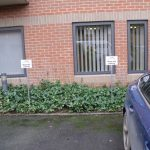 Reserved parking signs on aluminium stakes