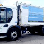Side graphics on recycling truck