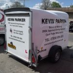 Spot colour vinyl and logo fitted to trailer