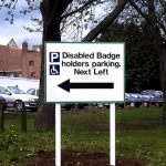 Plate And Post   Disabled Badge Holder Sign On Metal Post