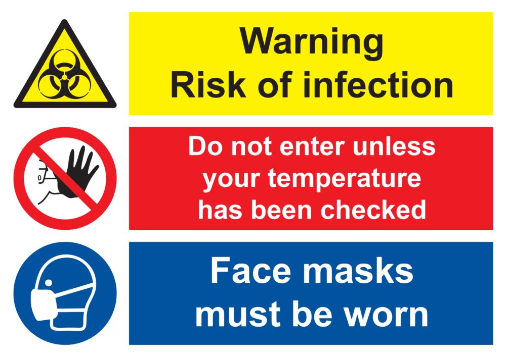 Warning   Do Not Enter   Face Masks Poster
