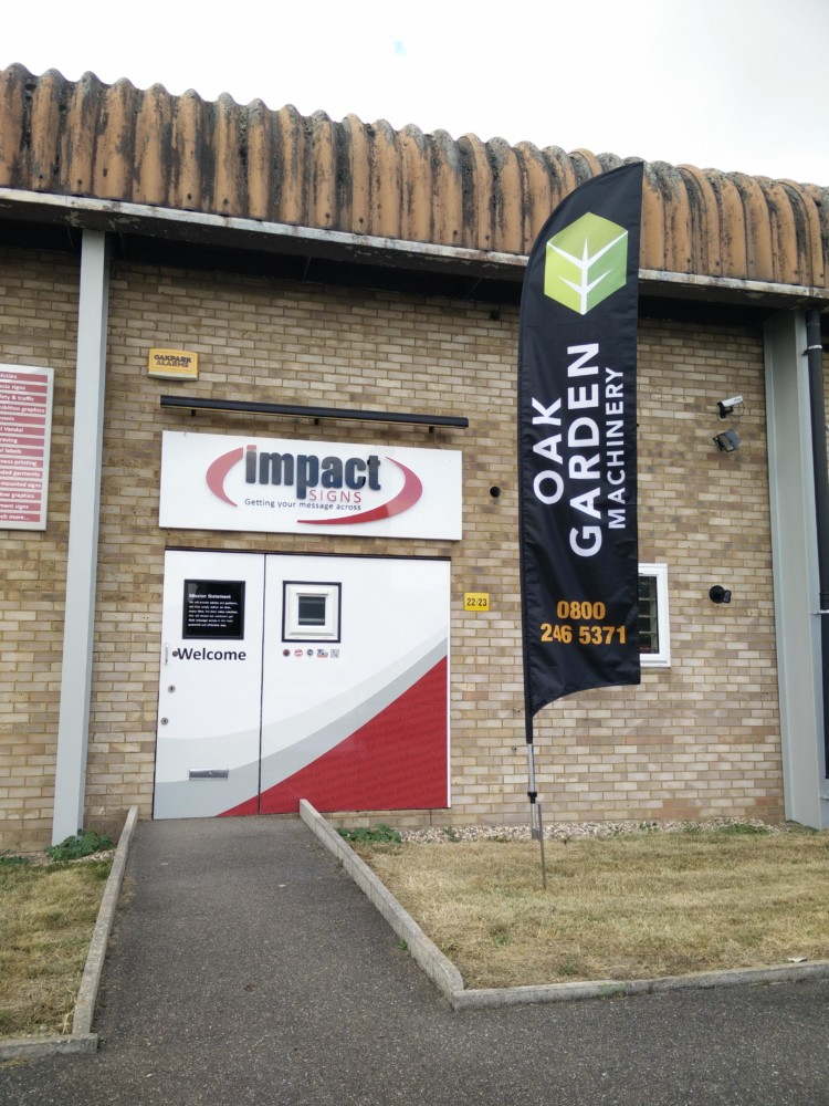 Large Bespoke Feather Flag External Outdoor Events Marketing Advertising Collateral Ground Spike - Impact Signs