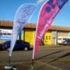 Teardrop Flags Water Base Outdoor Events Exhibitions Marketing Advertising Corporate Bespoke Impact Signs
