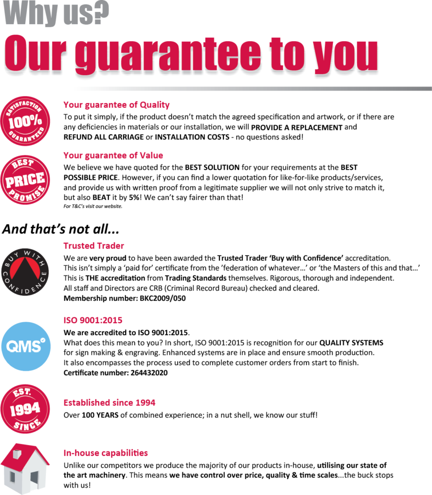 Impact Signs Why Us   Our Guarantee To You